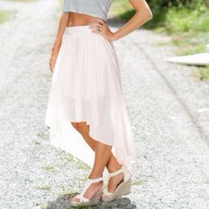 Light pink high-low skirt